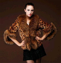 2017 Autumn Winter Fashion Leopard Faux Fur Coat New Brand Faux Rabbit Seven Sleeve Hot Sale Artificial Fur Coats Lr170