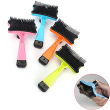 Dog Comb Brush Pet Cleaning Tools Press Button Puppy Dog Cat Quick Clean Hair Hand Scraper Removal Dematting Grooming Supplies