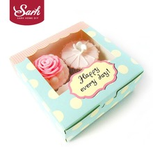 10pcs Lovely Green Happy Everyday Spot Macarons Box Cake Box Chocolate Muffin Biscuits Box for Cookie Package 13.5x13.5x5cm(China)