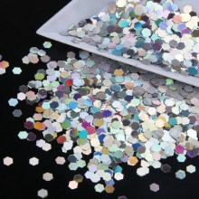 ELESSICAL 10g/bag Silver Color Holographic Nail Glitter Powder Hexagon Glitter Nail Art Decoration Manicure Tool DIY WY784