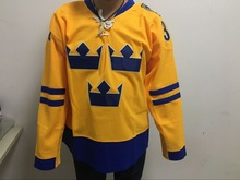 Customized World Cup Hockey jersey #30 Team Sweden 2010 Swift Replica Gold Hockey Jersey Yellow Blue Free Shipping