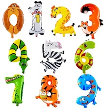 "1PCS 16inch Animal Number Foil Balloons Kids Party balls 16"" number balloons Birthday Wedding Decoration globas toys balony(China)"