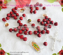 7mm silver coating chain red beaded perfume rosary with Virgin of Guadalupe,beautiful our lady necklace(China)