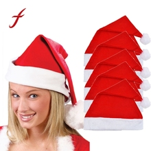 5x Adult Unisex Adult Xmas Red Cap Santa Novelty Hat for Christmas Party(China)