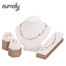 OUMEILY Gold Color Lovely Gift Twisted Necklace Bracelet Fashion Jewelry Set For Women Party Dress Accessories African Beads(China)