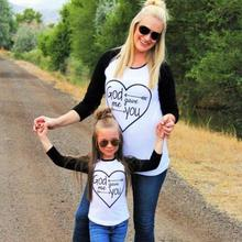 Family Sets Family Matching Outfits Mom and Girl Son God Gave Me You T-Shirt Long Sleeve Cotton Top Tees Spring Family Look