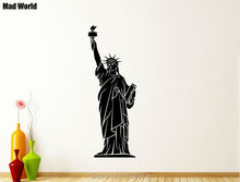 Mad World-Statue of Liberty New York America Wall Art Stickers Wall Decal Home DIY Decoration Removable Decor Wall Stickers 55cm()