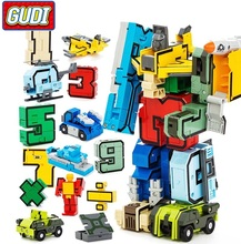 GUDI 15pcs Creative Assembling Educational Action Figures Transformer Number Robot Deform Plane Car Birthday Kids gift Toys(China)