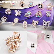 XIAOJINGLING 15 Styles Vintage Mini Crystal Rhinestone Bride Brooches Pins For Women Wedding Brooch Small Collar Clip Thorn Pin