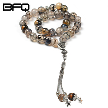 BFQ 100% Original Natural Agates Stone Muslim Prayer Beads Islamic Tasbih Allah Prayer Rosary Tesbih Islam Misbaha NS-MR044(China)
