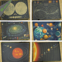 Retro Kraft Paper vintage Poster art Wall home Decoration moon star earth Galaxy solar system Nine planets landscape poster