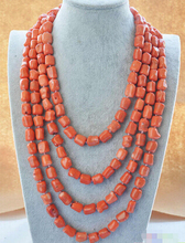 "DYY+++818 natural 100"" 13x15mm massive pink coral NECKLACE"