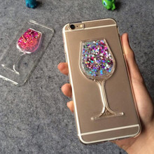 Bling Dynamic Glitter Liquid Quicksand 3D Wine Glass Pattern Soft TPU Silicone Phone Back Case Cover For iPhone 6 6S Plus 7 Plus