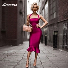 Seamyla Free Shipping 2017 Newest Fashion Mermaid Evening Party Dress Knee Length Halter Neck Sexy Women Bandage Dresses