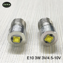 E10 3w 3watt 4v to 12V 10v 9v 6v 4.5v  led flashlight bulb torch light for driving lights and head lamp free shipping