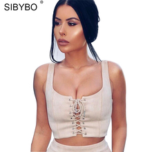 Sibybo Suede Summer Crop Tops 2017 Sexy Pink / Black Lace Up Slim Cami Camisole Sleeveless Vest Party Club Women Tank Top(China)