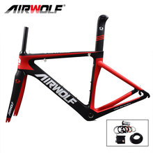 Airwolf carbon road bike frame cycling bicycle frameset include fork/seatpost/headset fit for both Di2/mechanical carbon frame(China)