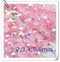 light pink AB Resin Jelly 14 facets 2,3,4,5,6mm Flatback Rhinestone Decorations for Phones Bags Shoes DIY Accessories