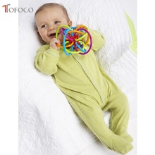 TOFOCO Best Gift! Baby Teether Pacifier Toy PU Tube  Colorful Baby Ball Rattle Early Educational Toy Hand Development Toys