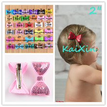 "Trial Order 15pcs/lot girls 2"" Embroidery Sequin Bows With Clips Knot Applique Sequin Bows Boutique Hair Accessories FC36(China)"