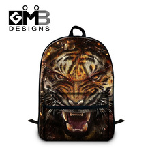 Best Tiger Backpacks for Teen boys Cool laptop back pack for College Students Fashion Mochilas School bookbag Backpacking bag(China)
