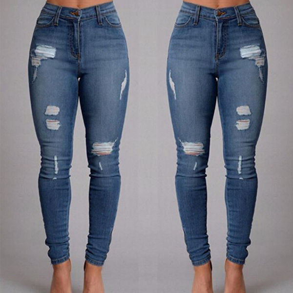 Fashion Women Denim Skinny Pants High Waist Stretch Hole Ripped Jeans Slim Pencil Trousers New JeansОдежда и ак�е��уары<br><br><br>Aliexpress