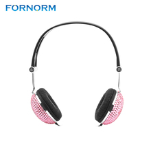 FORNORM Crystal Rhinestone Bling Headphones Lovely Bling Style Crystal Handmade Retro Ear-Cup Headphones Headsets For Phone(China)