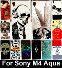 Colorful Skull Design Cool Head Soft TPU & Hard PC Cover Case For Sony Xperia M4 Aqua Dual E2303 E2333 E2353 Phone Capa Shell