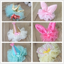 7 Color Tulles Hairpin Pet dog headdress rabbit bow head flower teddy poodle clip Party Dog Hair accessories(China)