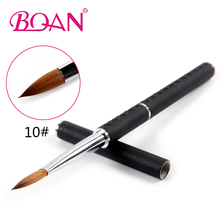 Retail 1 Pcs Nail Tool 10# Nail Acrylic Brush Pure Kolinsky Professional Leather Handle Painting Brush Nail art brush(China)