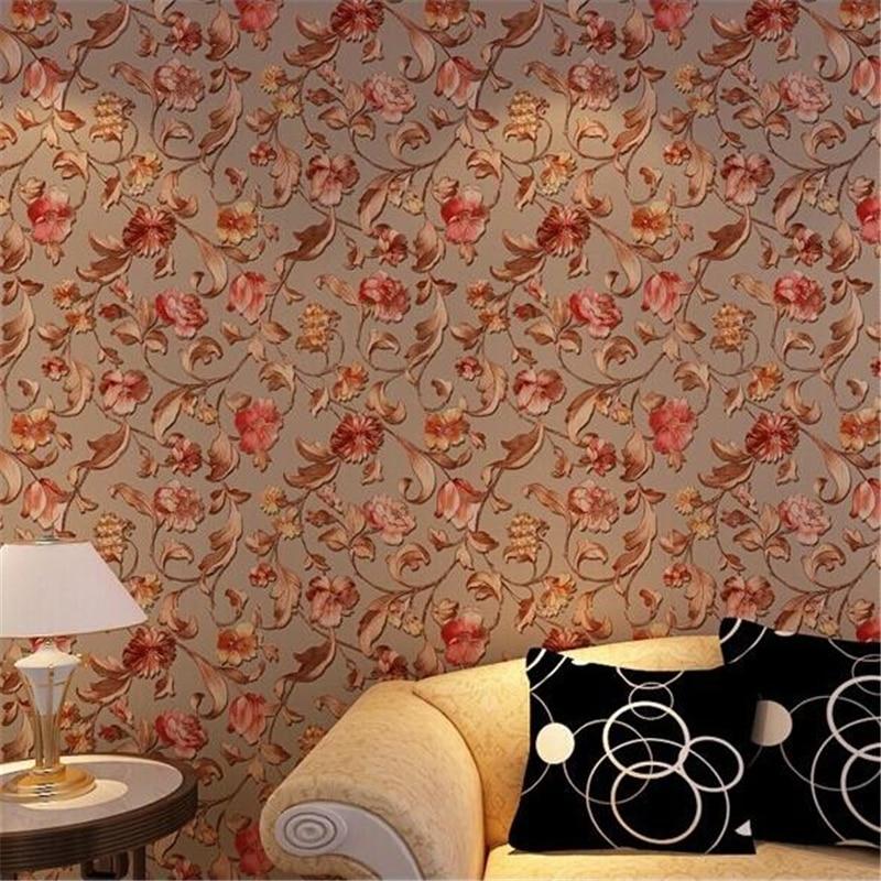 beibehang   high grade gold relief rose non woven wallpaper warm pastoral bedroom living room background wallpaper papier peint<br>