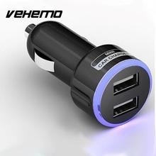 Vehemo 2.1A Universal Car Charger Adaptor Cigarette Lighter Bullet USB 2-Port Mini Car-Charger for Samsung Mobile Phone Charger(China)