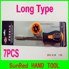 GOOD QUALITY long handle 7 in 1 precision philips and slotted screwdriver set  Hand Repair Tool Interchangeable NO.20436