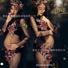 2017 Black Embroidered Dress Pregnancy Photo Shoot Beach Dress Maternity Long Dress Pregnant Photography Props Fancy Clothing(China)