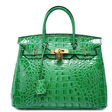 High Quality Real Leather Brand Desiger Tote Handbags For Lady Shiny Patent Leather Crocodile Pattern Embossed Lock Shoulder Bag