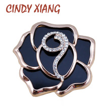 CINDY XIANG Fashion Big Rose Flower Brooches Black Acrylic Material Brooches And Pins Fashion Jewelry Coat Dress Bijouterie Gift(China)