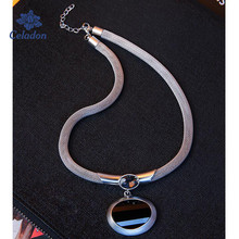 New Fashion Female Large Semi Precious Stone Pendant Black and Silver Color Mesh Chain Necklace Jewelry(China)