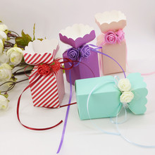 50pcs/lot  DIY Beautiful Tiffany Candy Box Wedding Favor Gift Boxes Cute Small Box Happy Event Supplies With Ribbon Rose Flower