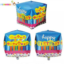 2016 New Foil Balloons Ballon Squares Happy Lantern Foil Cube Balls Decorations Kids Air Helium Balloon Party Supplies Balloons