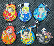 Anime One Piece Figures Luffy,Nami,Brook ,Sanji ,Franky,Sabo Premier Summer Series Figure pvc Keychain/Phone Strap Pendant Toys
