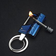 Hot Million Matches Lighter Stainless Steel Key Chain Torch Lighters Smoker Kerosene Oil Flame Cigarette Lighter Men Gadgets(China)