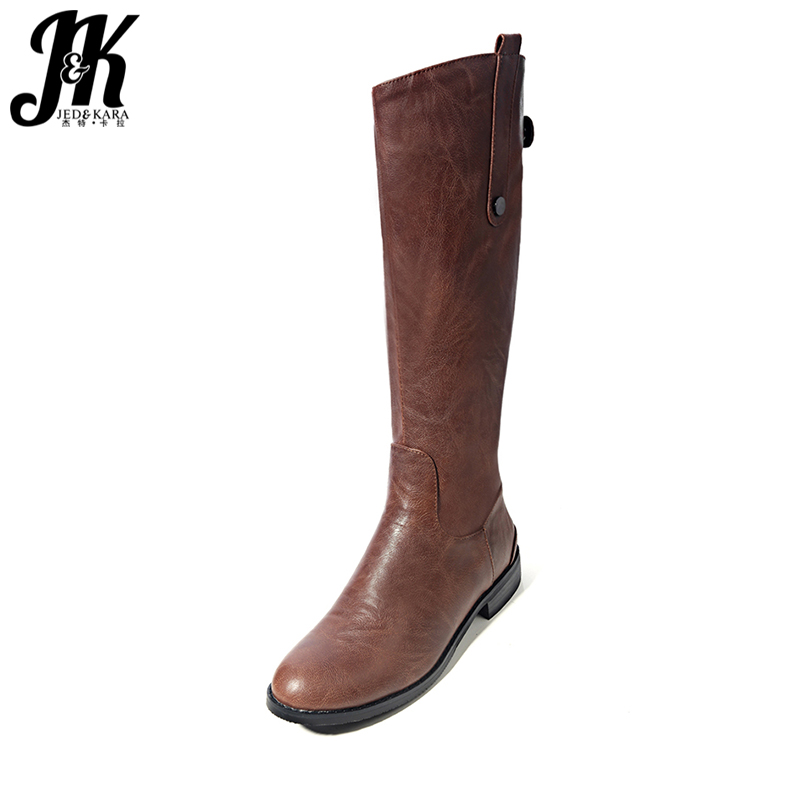 J&amp;K Street Knee-High Riding Boots 2017 New Arrival Comfortable Rubber Outsole Winter Boots Women Shoes Square Heel Zip<br>