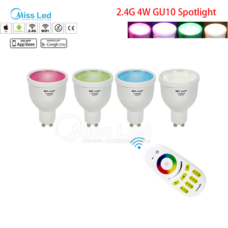 1X 2.4G RF wireless Remote+ 4x  Mi light 4w GU10 bulb RGBW(RGB+White/Warm white) change color/brightness dimmable wireless lamp<br>