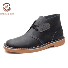 Maden Brand 2017 Genuine Leather Men Ankle Boots British Style Top Quality Martin Boots Desert Tooling Boots Botas Hombre(China)