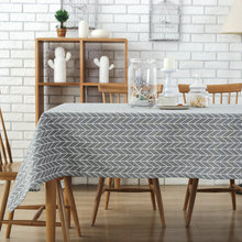 European Simple Tablecloth Linen Cotton Stripes Furnishing Cloth Dustproof Table Cover Rectangular Home Hotel Wedding