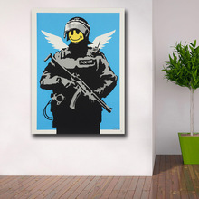 Mklql Graffiti Art Flyinfcopper-banksy Canvas Painting For Living Room Home Decor Oil Painting On Canvas Wall Painting(China)