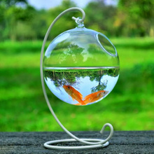 1Set Round Shape Hanging Glass Aquarium Fish Bowl Fish Tank Flower Plant Vase Home Decoration with 12cm Height Rack Holder(China)