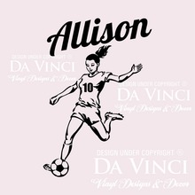 Soccer Player Vinyl Wall Decal Personalized Custom Girl Name Football Sport Mural Art Wall Sticker Boy's Bedroom Home Decoration