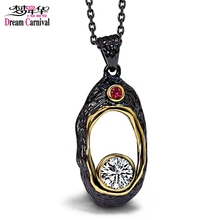 DreamCarnival1989 Gothic CZ Pendant Necklace for Lady Black Gun Color Costumes Jewelry Hollow Big Discount Coupon Collier Bijoux(China)