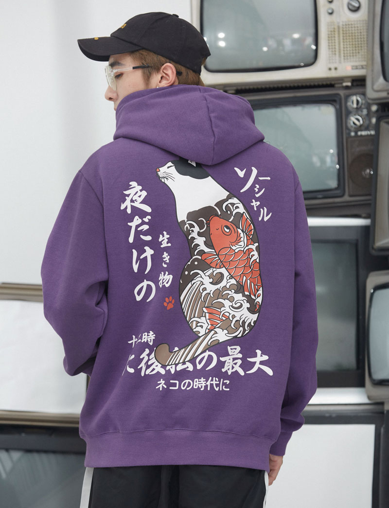 Japanese Ukiyo Cat Printed Fleece Hoodies 3